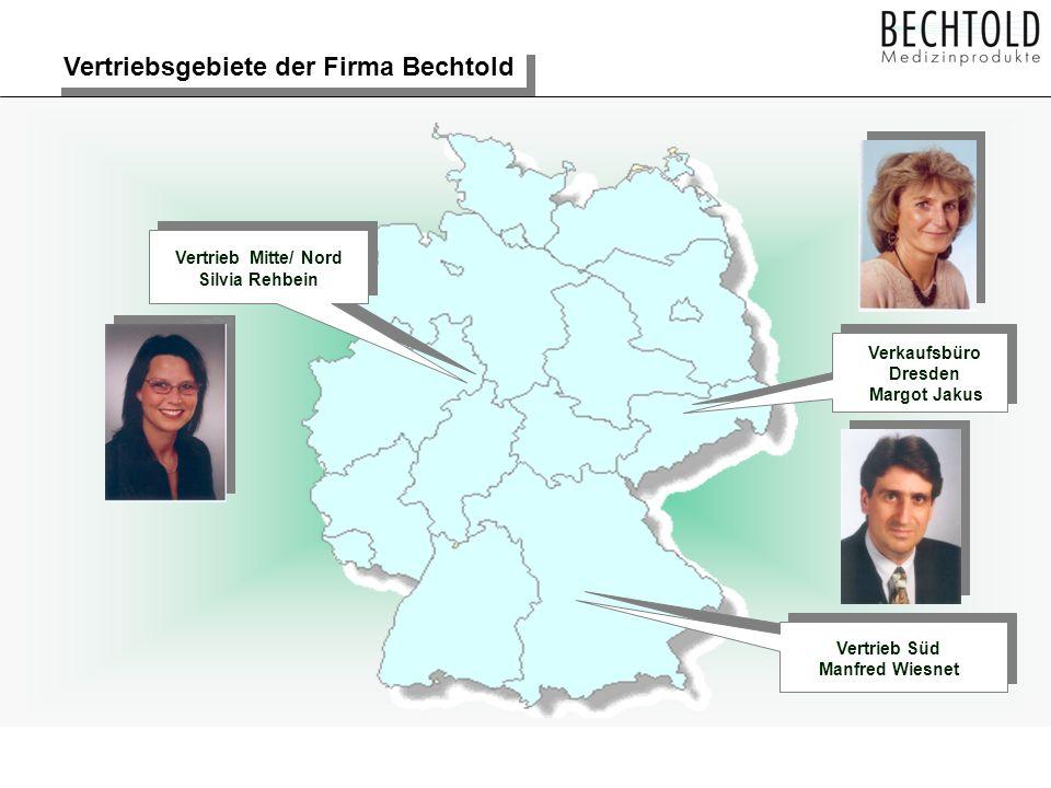 Vertriebsgebiete der Firma Bechtold Vertrieb Mitte/ Nord Silvia Rehbein Vertrieb Süd Manfred Wiesnet Verkaufsbüro Dresden Margot Jakus