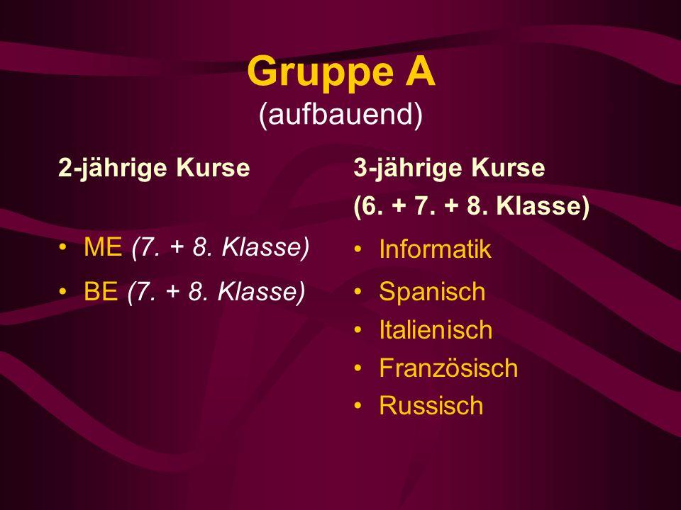 Gruppe A (aufbauend) 2-jährige Kurse ME (7. + 8. Klasse) BE (7.