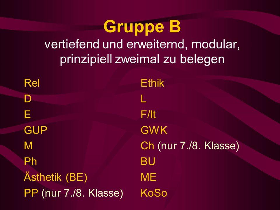 Gruppe B vertiefend und erweiternd, modular, prinzipiell zweimal zu belegen Rel D E GUP M Ph Ästhetik (BE) PP (nur 7./8.