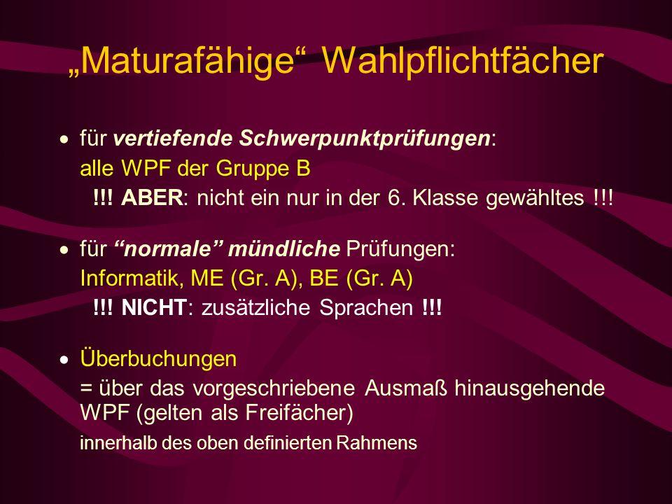 Maturafähige Wahlpflichtfächer für vertiefende Schwerpunktprüfungen: alle WPF der Gruppe B !!.