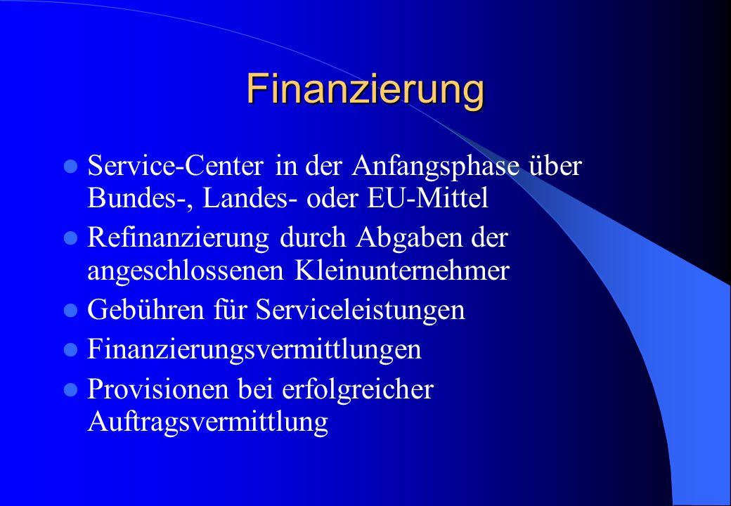 Finanzierung Service-Center in der Anfangsphase über Bundes-, Landes- oder EU-Mittel Refinanzierung durch Abgaben der angeschlossenen Kleinunternehmer Gebühren für Serviceleistungen Finanzierungsvermittlungen Provisionen bei erfolgreicher Auftragsvermittlung