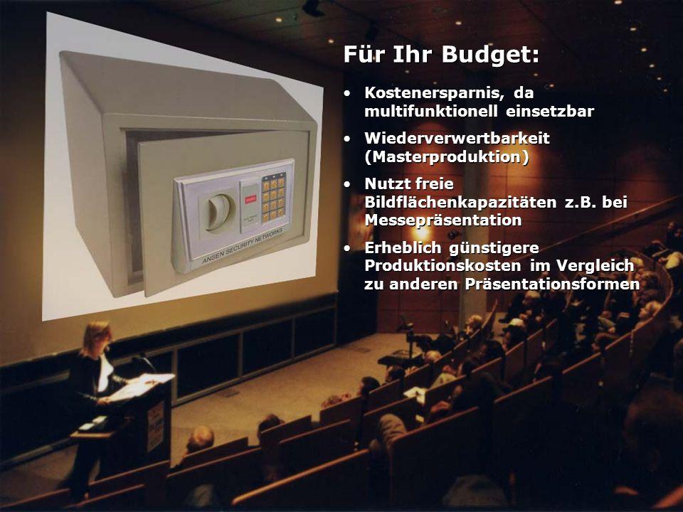 Für Ihr Budget: Kostenersparnis, da multifunktionell einsetzbar Wiederverwertbarkeit (Masterproduktion) Nutzt freie Bildflächenkapazitäten z.B. bei Me