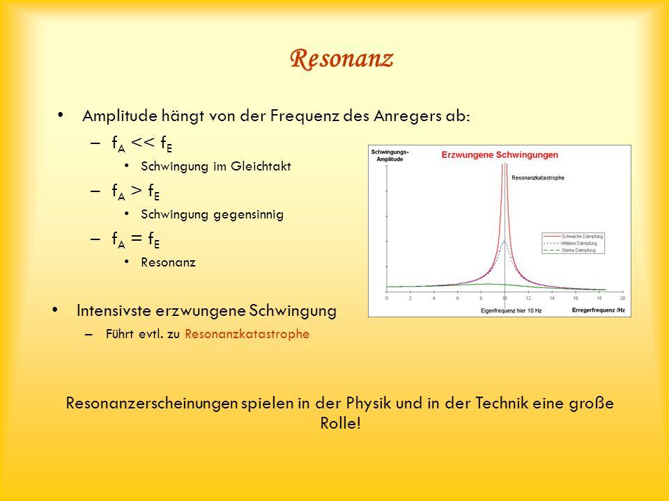 Resonanz Amplitude hängt von der Frequenz des Anregers ab: –f A << f E Schwingung im Gleichtakt –f A > f E Schwingung gegensinnig –f A = f E Resonanz Resonanzerscheinungen spielen in der Physik und in der Technik eine große Rolle.