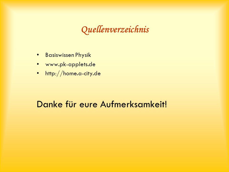 Quellenverzeichnis Basiswissen Physik www.pk-applets.de http://home.a-city.de Danke für eure Aufmerksamkeit!