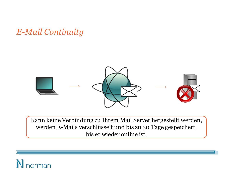 E-Mail Continuity Kann keine Verbindung zu Ihrem Mail Server hergestellt werden, werden E-Mails verschlüsselt und bis zu 30 Tage gespeichert, bis er wieder online ist.