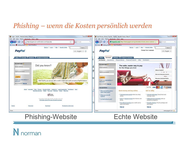 Phishing – wenn die Kosten persönlich werden Phishing-WebsiteEchte Website