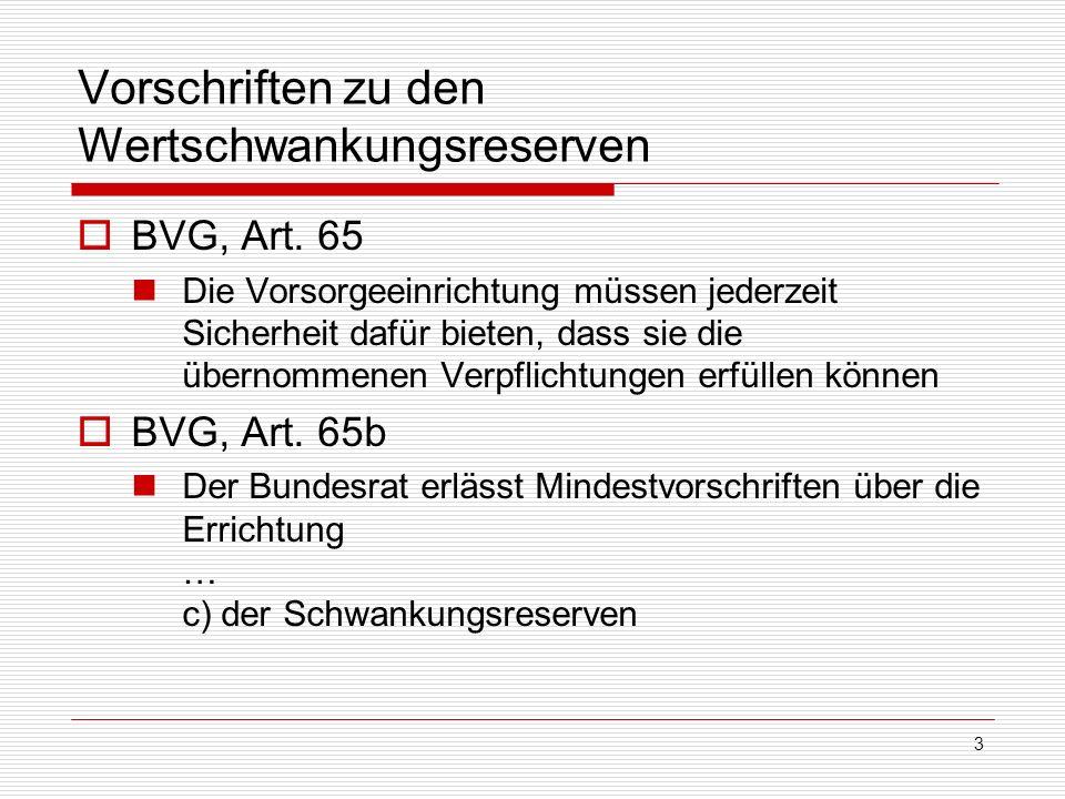 3 Vorschriften zu den Wertschwankungsreserven BVG, Art. 65 Die Vorsorgeeinrichtung müssen jederzeit Sicherheit dafür bieten, dass sie die übernommenen