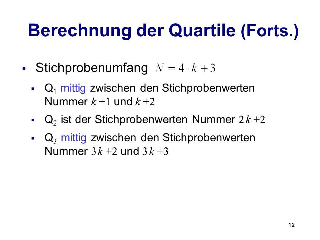 12 Berechnung der Quartile (Forts.) Stichprobenumfang Q 1 mittig zwischen den Stichprobenwerten Nummer k +1 und k +2 Q 2 ist der Stichprobenwerten Num