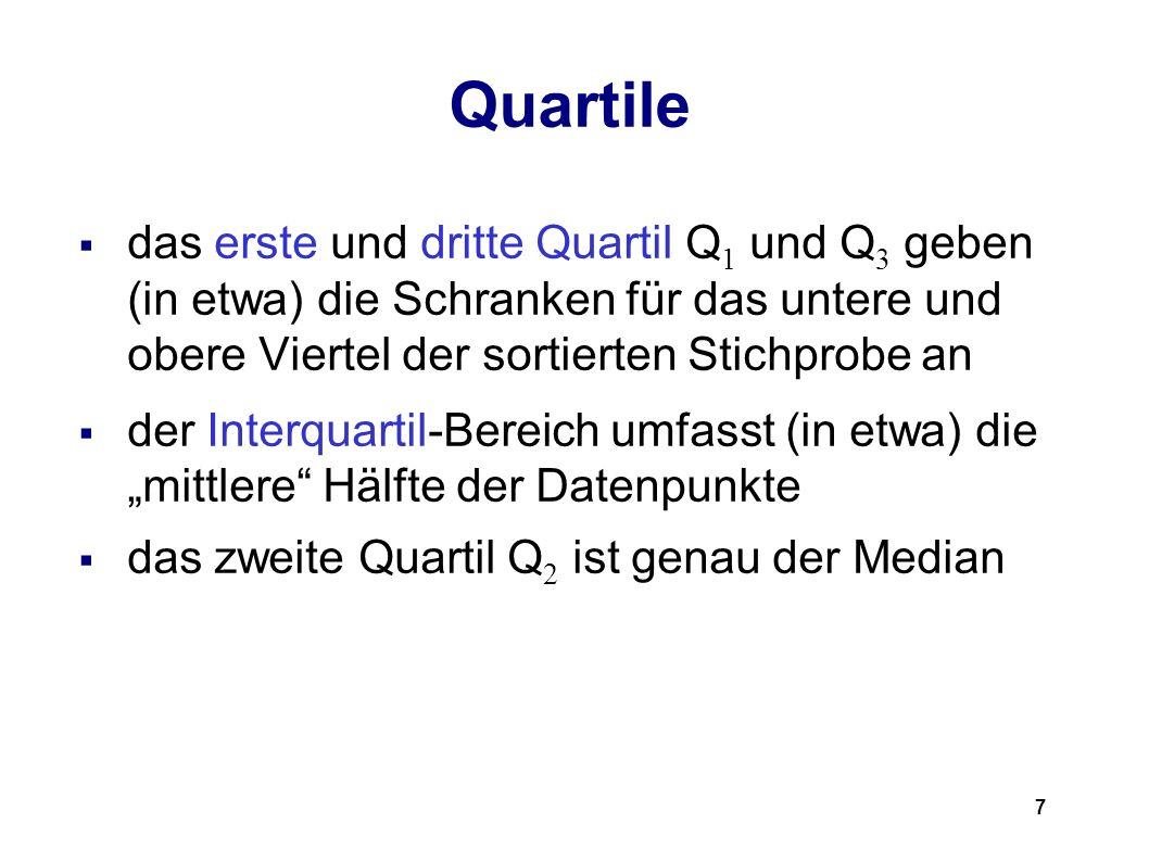 7 Quartile das erste und dritte Quartil Q 1 und Q 3 geben (in etwa) die Schranken für das untere und obere Viertel der sortierten Stichprobe an der In