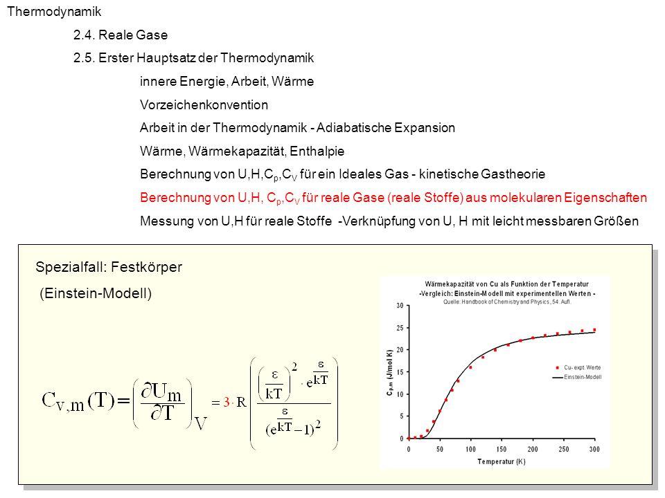 Spezialfall: Festkörper (Einstein-Modell) Thermodynamik 2.4. Reale Gase 2.5. Erster Hauptsatz der Thermodynamik innere Energie, Arbeit, Wärme Vorzeich
