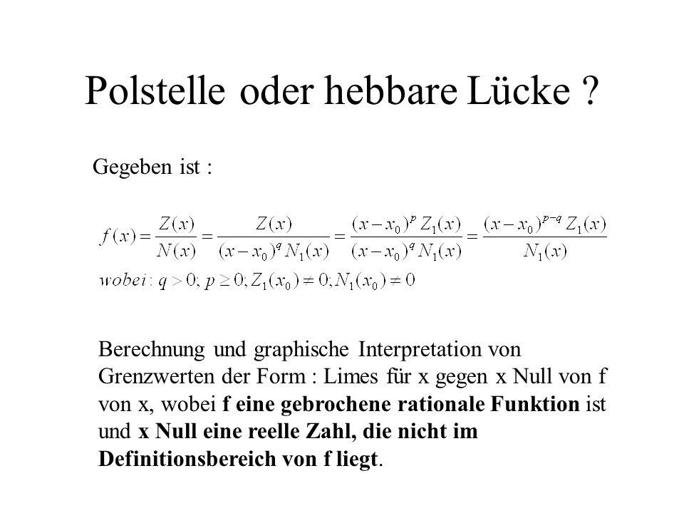 Polstelle oder hebbare Lücke ? Gegeben ist : Berechnung und graphische Interpretation von Grenzwerten der Form : Limes für x gegen x Null von f von x,