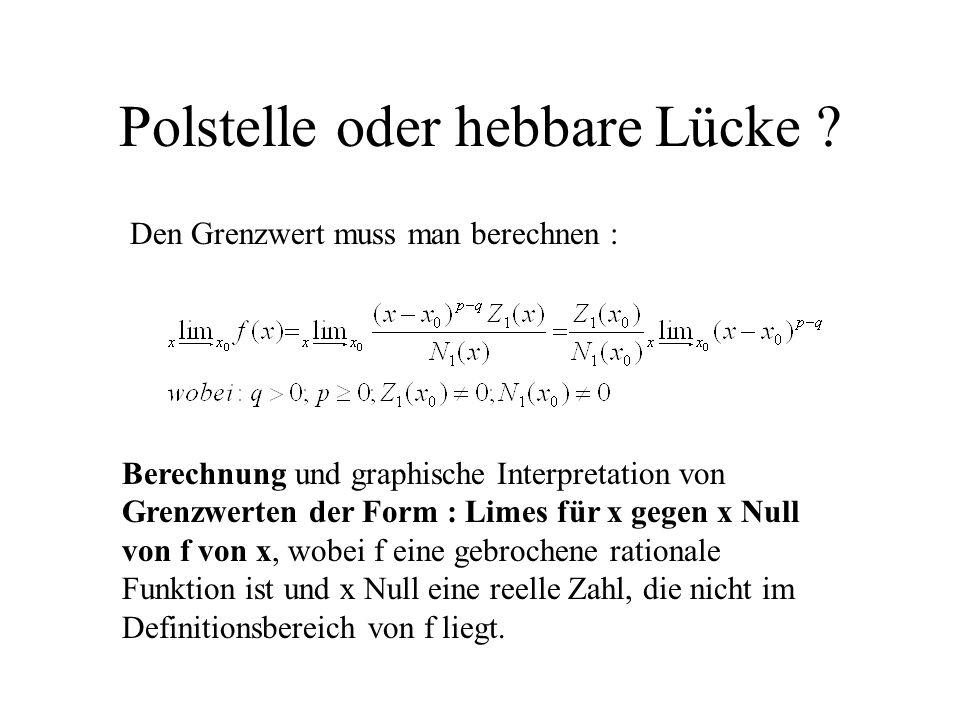 Polstelle oder hebbare Lücke ? Den Grenzwert muss man berechnen : Berechnung und graphische Interpretation von Grenzwerten der Form : Limes für x gege