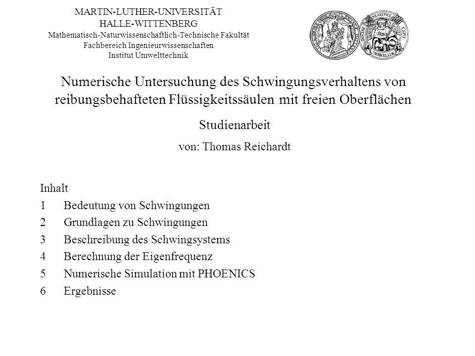 MARTIN-LUTHER-UNIVERSITÄT HALLE-WITTENBERG Mathematisch-Naturwissenschaftlich-Technische Fakultät Fachbereich Ingenieurwissenschaften Institut Umweltt