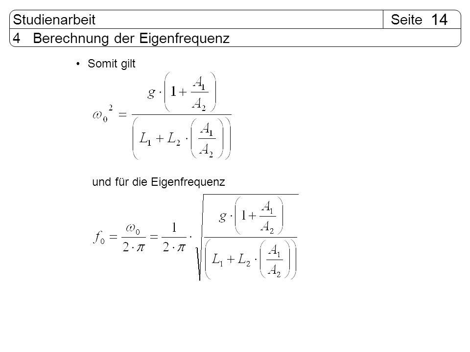 SeiteStudienarbeit 14 4 Berechnung der Eigenfrequenz Somit gilt und für die Eigenfrequenz