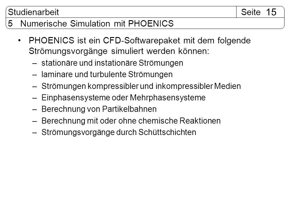 SeiteStudienarbeit 15 5 Numerische Simulation mit PHOENICS PHOENICS ist ein CFD-Softwarepaket mit dem folgende Strömungsvorgänge simuliert werden könn