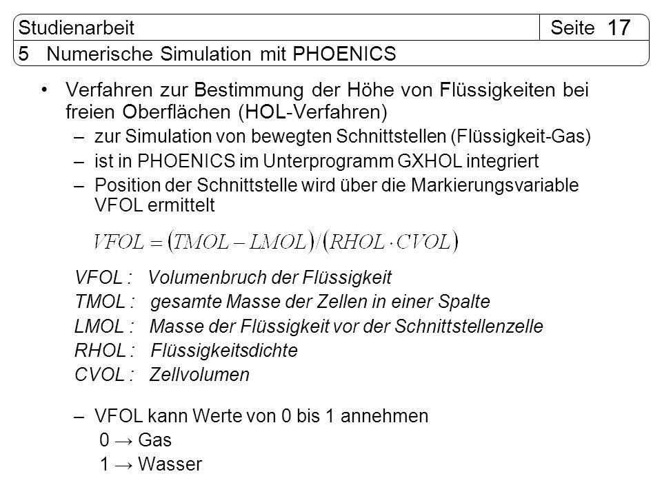 SeiteStudienarbeit 17 5 Numerische Simulation mit PHOENICS Verfahren zur Bestimmung der Höhe von Flüssigkeiten bei freien Oberflächen (HOL-Verfahren)