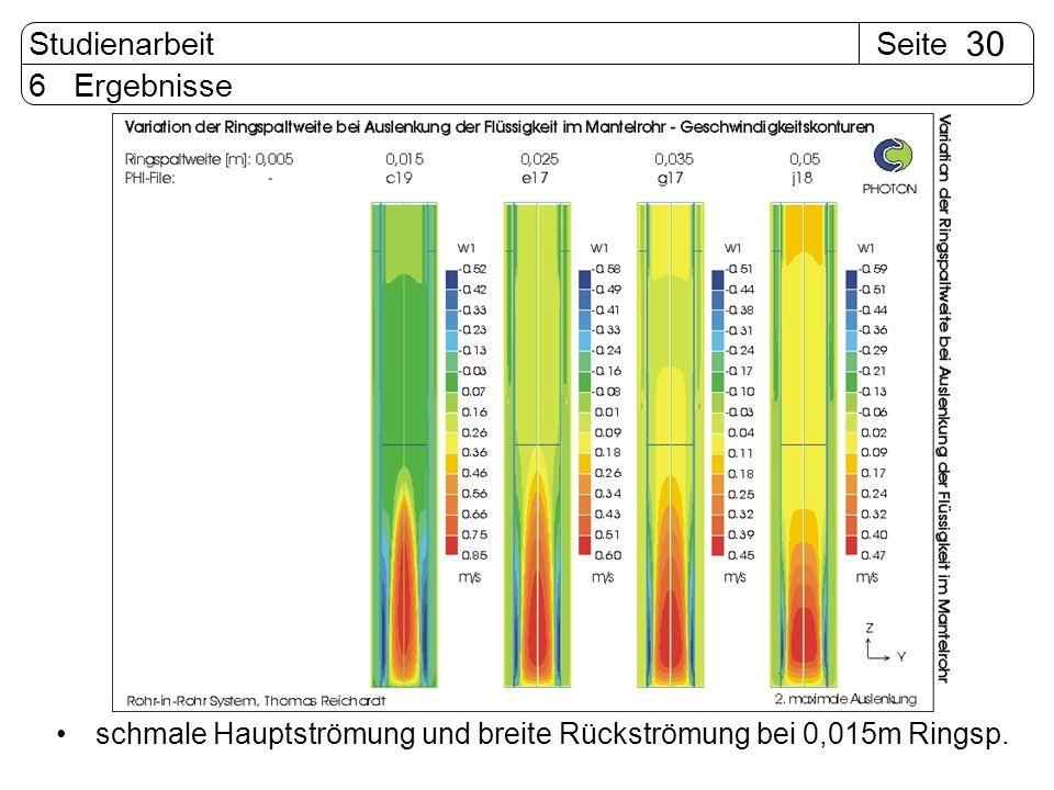 SeiteStudienarbeit 30 6 Ergebnisse schmale Hauptströmung und breite Rückströmung bei 0,015m Ringsp.