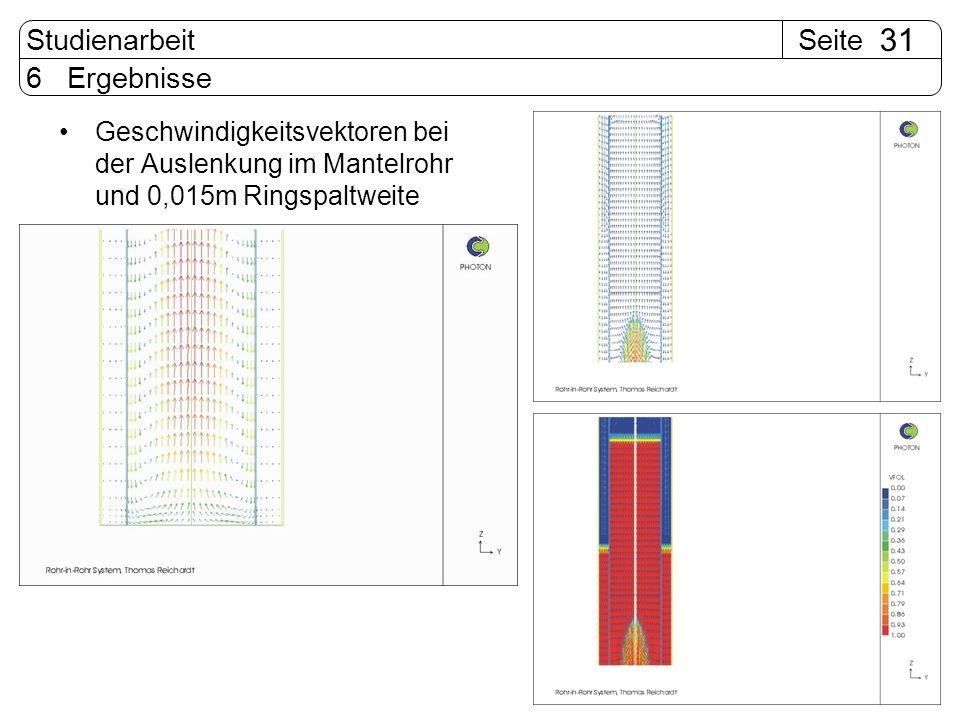 SeiteStudienarbeit 31 6 Ergebnisse Geschwindigkeitsvektoren bei der Auslenkung im Mantelrohr und 0,015m Ringspaltweite