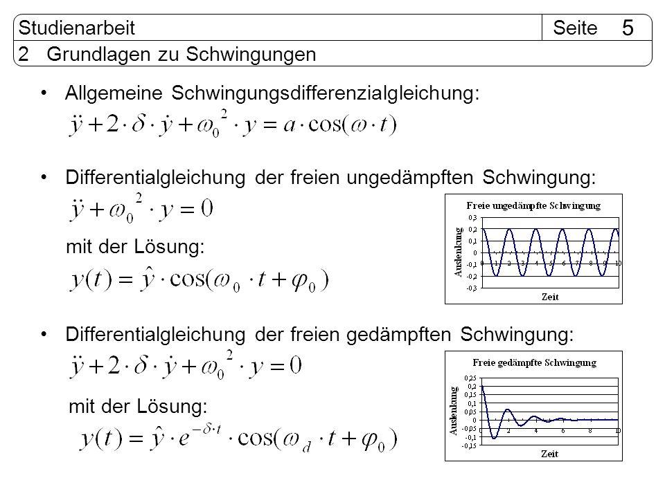 SeiteStudienarbeit 5 2 Grundlagen zu Schwingungen Allgemeine Schwingungsdifferenzialgleichung: Differentialgleichung der freien ungedämpften Schwingun