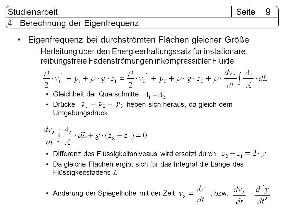SeiteStudienarbeit 9 4 Berechnung der Eigenfrequenz Eigenfrequenz bei durchströmten Flächen gleicher Größe –Herleitung über den Energieerhaltungssatz