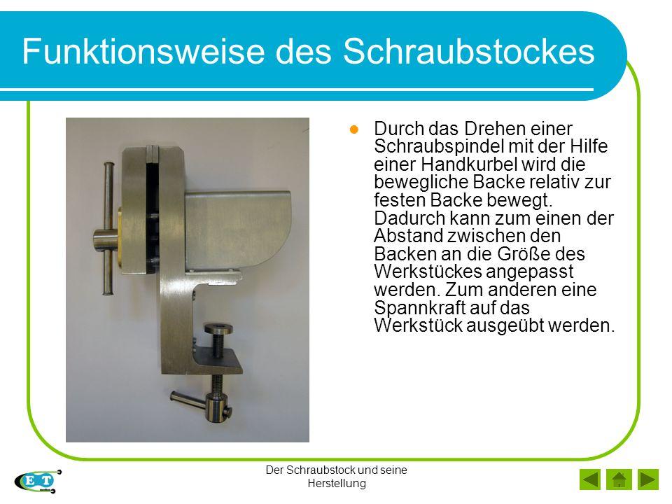 Der Schraubstock und seine Herstellung Funktionsweise des Schraubstockes Durch das Drehen einer Schraubspindel mit der Hilfe einer Handkurbel wird die bewegliche Backe relativ zur festen Backe bewegt.