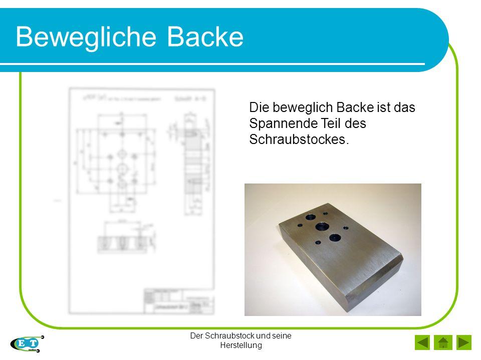 Der Schraubstock und seine Herstellung Bewegliche Backe Die beweglich Backe ist das Spannende Teil des Schraubstockes.