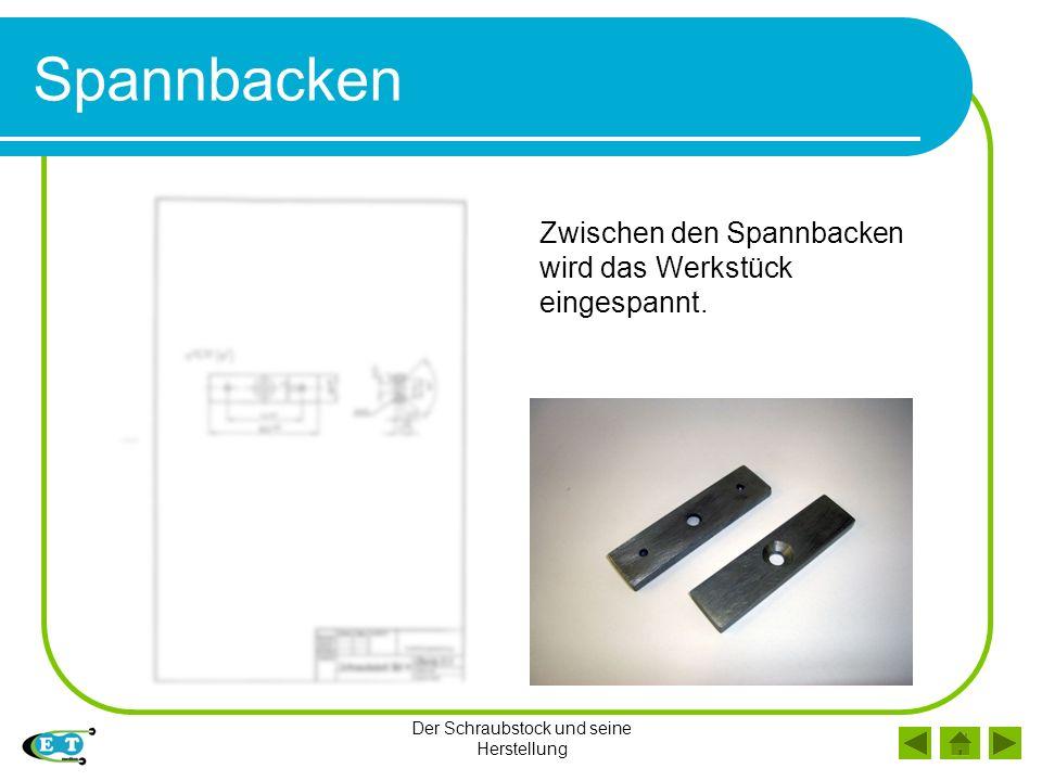 Der Schraubstock und seine Herstellung Spannbacken Zwischen den Spannbacken wird das Werkstück eingespannt.