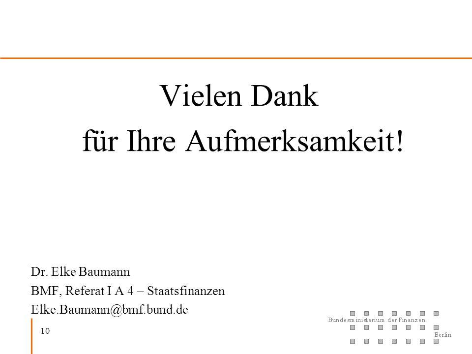10 Vielen Dank für Ihre Aufmerksamkeit! Dr. Elke Baumann BMF, Referat I A 4 – Staatsfinanzen Elke.Baumann@bmf.bund.de