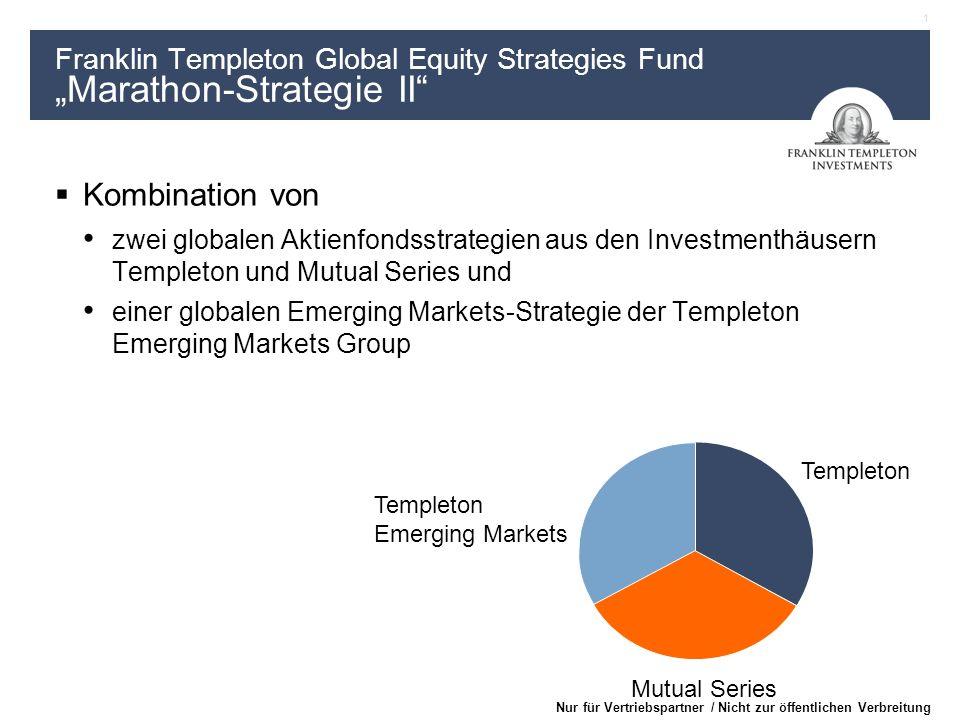 1 Nur für Vertriebspartner / Nicht zur öffentlichen Verbreitung Templeton Mutual Series Templeton Emerging Markets Kombination von zwei globalen Aktie