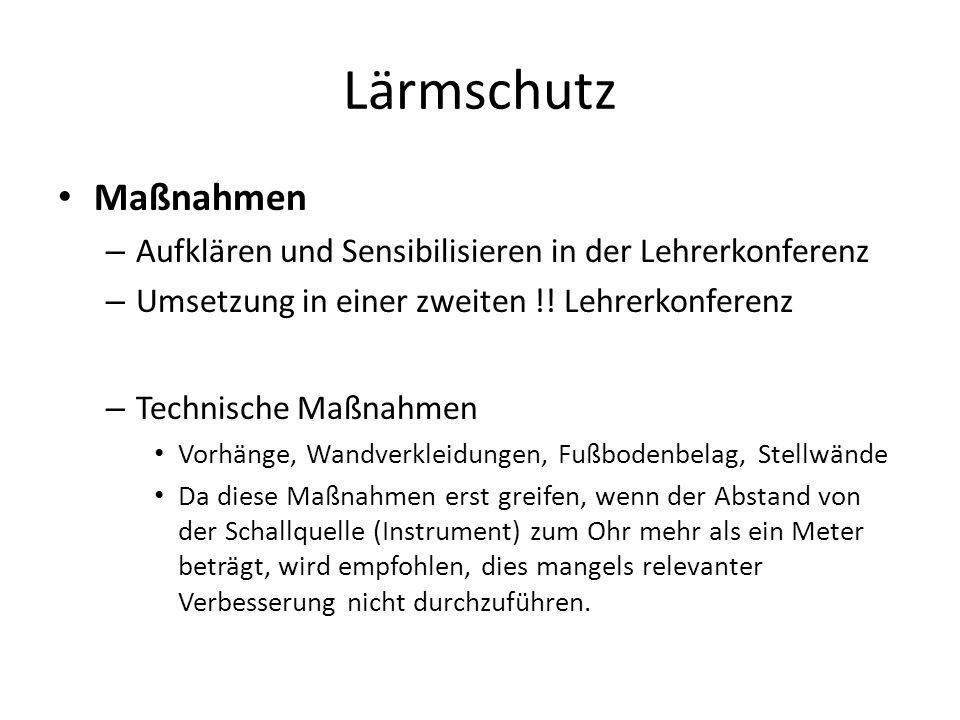 Lärmschutz Maßnahmen – Aufklären und Sensibilisieren in der Lehrerkonferenz – Umsetzung in einer zweiten !! Lehrerkonferenz – Technische Maßnahmen Vor