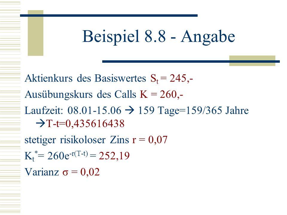 Beispiel 8.8 - Angabe Aktienkurs des Basiswertes S t = 245,- Ausübungskurs des Calls K = 260,- Laufzeit: 08.01-15.06 159 Tage=159/365 Jahre T-t=0,4356