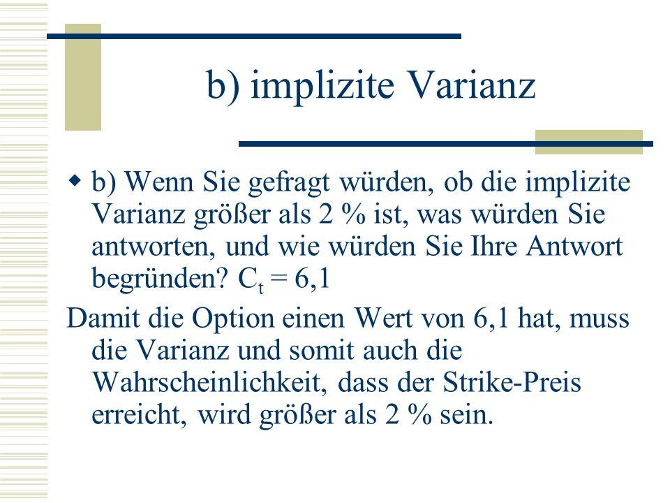 b) implizite Varianz b) Wenn Sie gefragt würden, ob die implizite Varianz größer als 2 % ist, was würden Sie antworten, und wie würden Sie Ihre Antwor