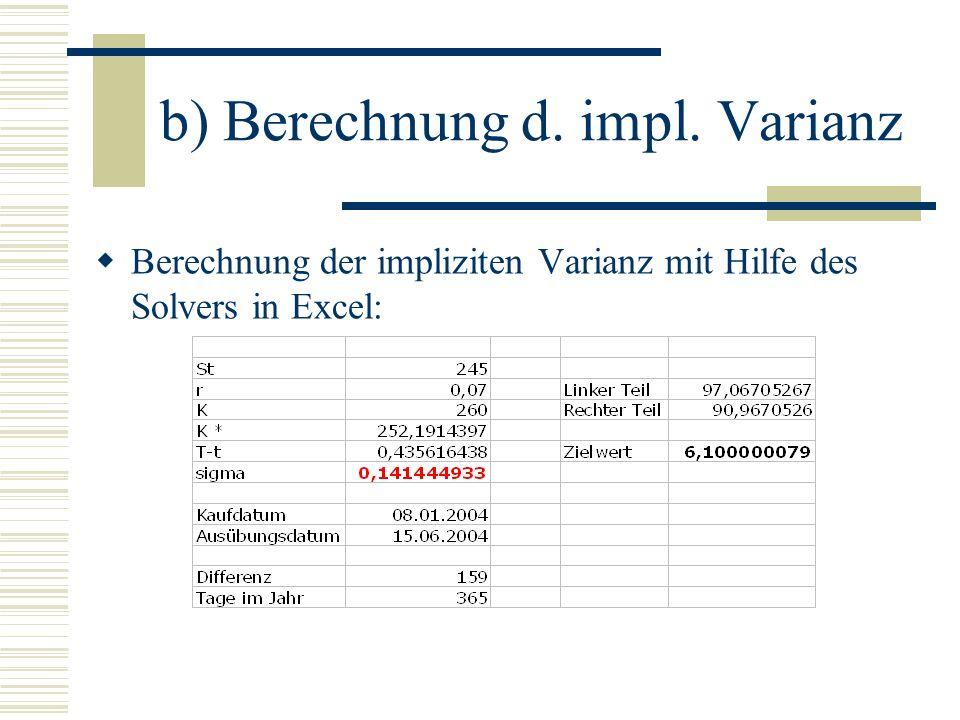 b) Berechnung d. impl. Varianz Berechnung der impliziten Varianz mit Hilfe des Solvers in Excel: