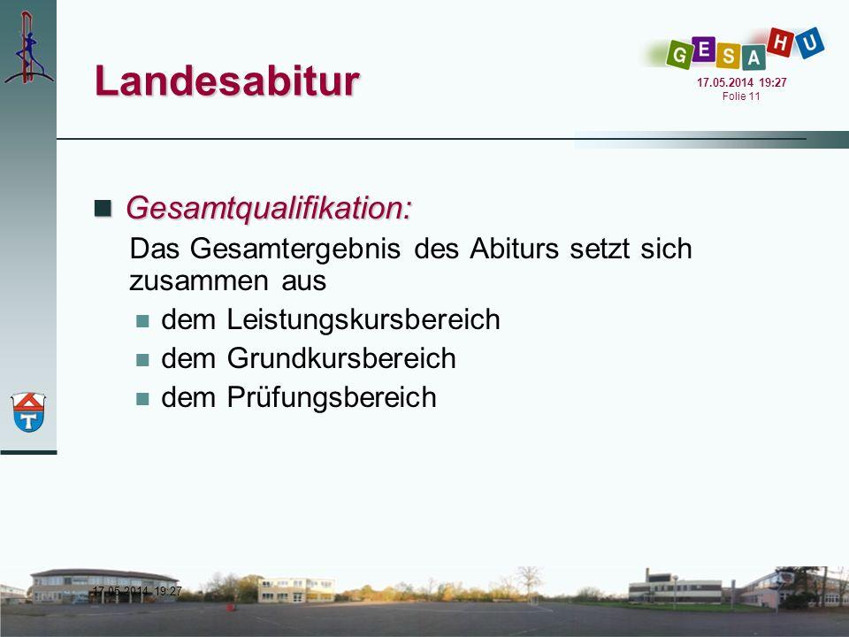 17.05.2014 19:28 17.05.2014 19:28 Folie 11 Landesabitur Gesamtqualifikation: Gesamtqualifikation: Das Gesamtergebnis des Abiturs setzt sich zusammen a