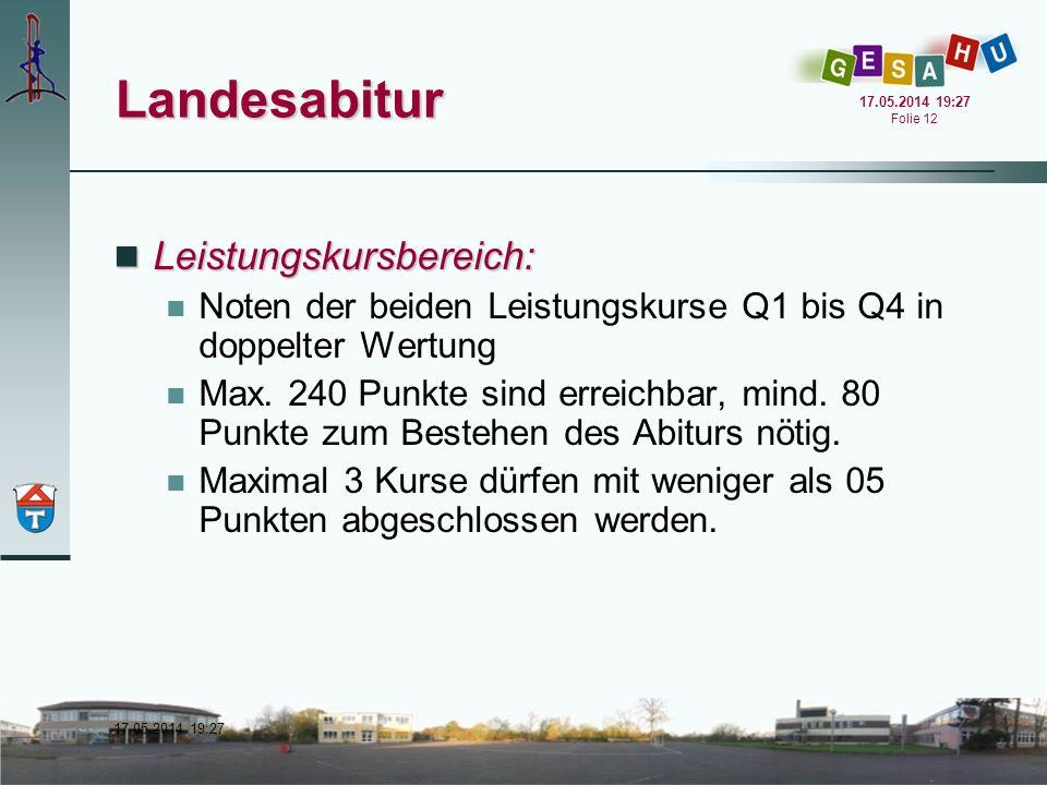 17.05.2014 19:28 17.05.2014 19:28 Folie 12 Landesabitur Leistungskursbereich: Leistungskursbereich: Noten der beiden Leistungskurse Q1 bis Q4 in doppe