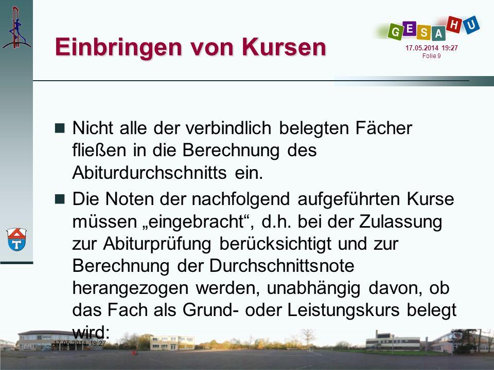 17.05.2014 19:28 17.05.2014 19:28 Folie 10 Einbringen von Kursen 4 Kurse in Deutsch 4 Kurse in einer aus Sek.