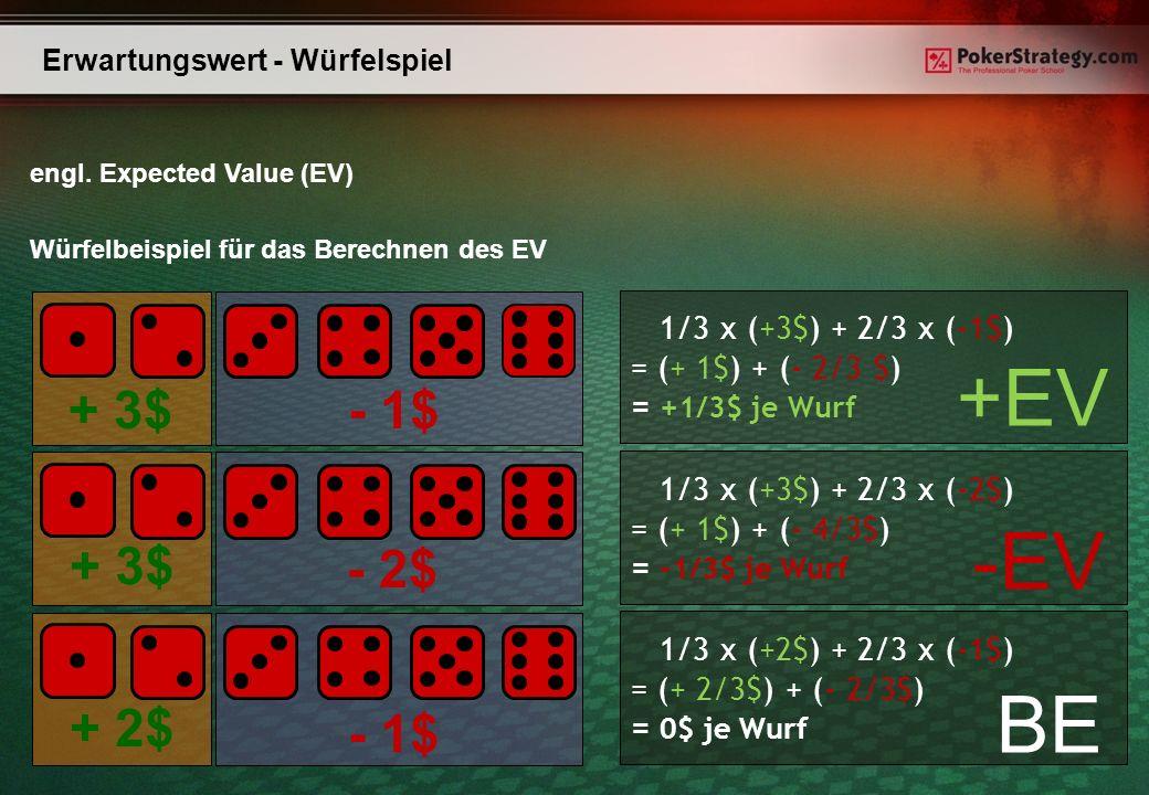 - 1$ - 2$ - 1$ + 2$ + 3$ Erwartungswert - Würfelspiel engl. Expected Value (EV) Würfelbeispiel für das Berechnen des EV 1/3 x (+3$) + 2/3 x (-1$) = (+