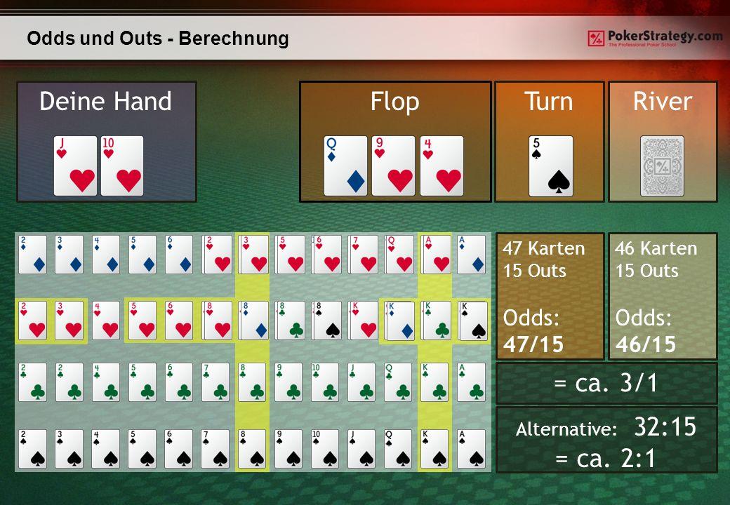 47 Karten 15 Outs Odds: 47/15 Odds und Outs - Berechnung Deine HandTurnRiverFlop 46 Karten 15 Outs Odds: 46/15 = ca.