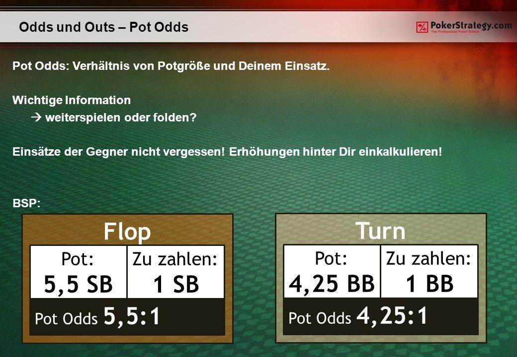 Flop Odds und Outs – Pot Odds Pot Odds: Verhältnis von Potgröße und Deinem Einsatz. Wichtige Information weiterspielen oder folden? Einsätze der Gegne