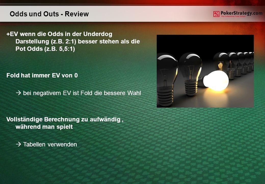 Odds und Outs - Review +EV wenn die Odds in der Underdog Darstellung (z.B. 2:1) besser stehen als die Pot Odds (z.B. 5,5:1) Fold hat immer EV von 0 be