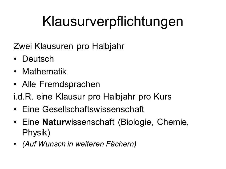 Klausurverpflichtungen Zwei Klausuren pro Halbjahr Deutsch Mathematik Alle Fremdsprachen i.d.R. eine Klausur pro Halbjahr pro Kurs Eine Gesellschaftsw