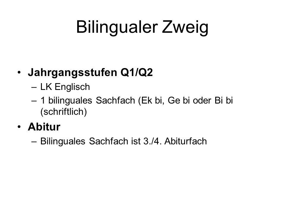Bilingualer Zweig Jahrgangsstufen Q1/Q2 –LK Englisch –1 bilinguales Sachfach (Ek bi, Ge bi oder Bi bi (schriftlich) Abitur –Bilinguales Sachfach ist 3./4.