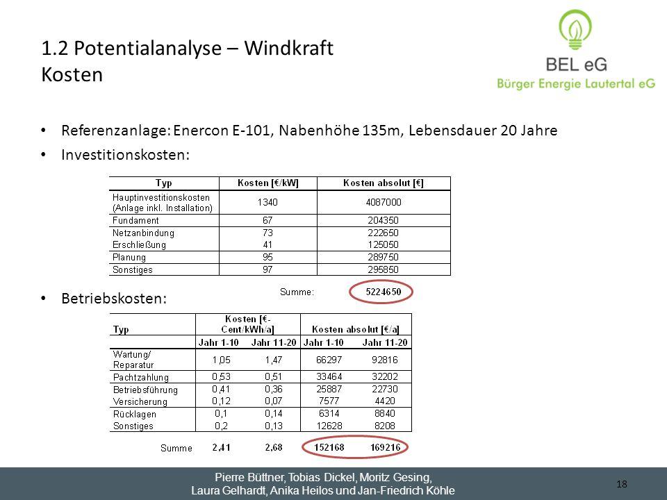 Referenzanlage: Enercon E-101, Nabenhöhe 135m, Lebensdauer 20 Jahre Investitionskosten: Betriebskosten: 18 1.2 Potentialanalyse – Windkraft Kosten Pie