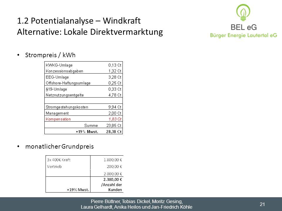 1.2 Potentialanalyse – Windkraft Alternative: Lokale Direktvermarktung Strompreis / kWh monatlicher Grundpreis Pierre Büttner, Tobias Dickel, Moritz G