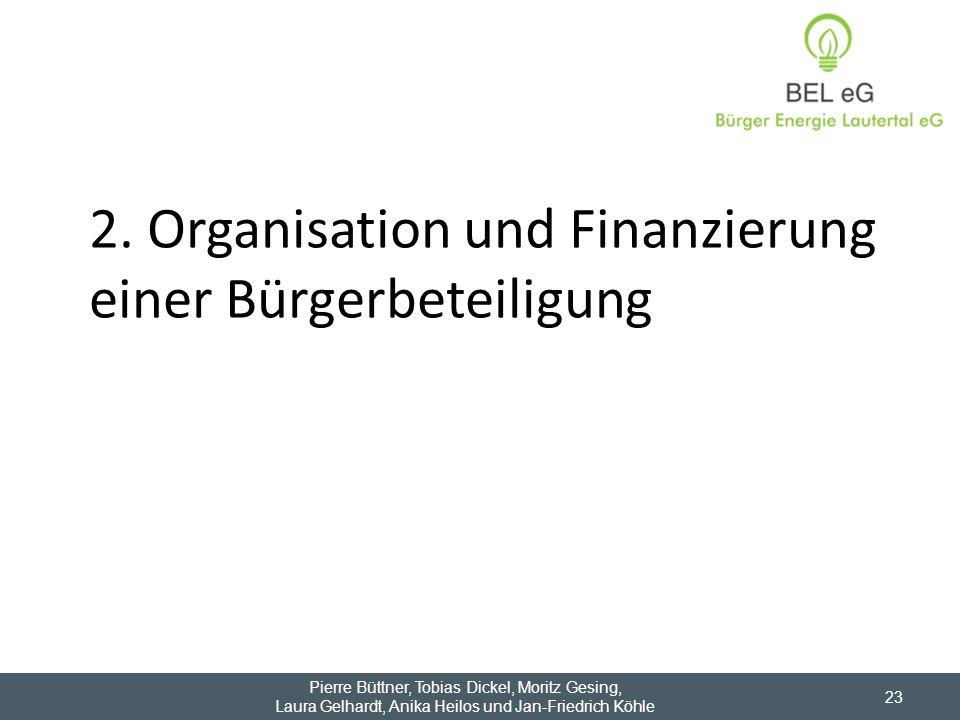 2. Organisation und Finanzierung einer Bürgerbeteiligung Pierre Büttner, Tobias Dickel, Moritz Gesing, Laura Gelhardt, Anika Heilos und Jan-Friedrich
