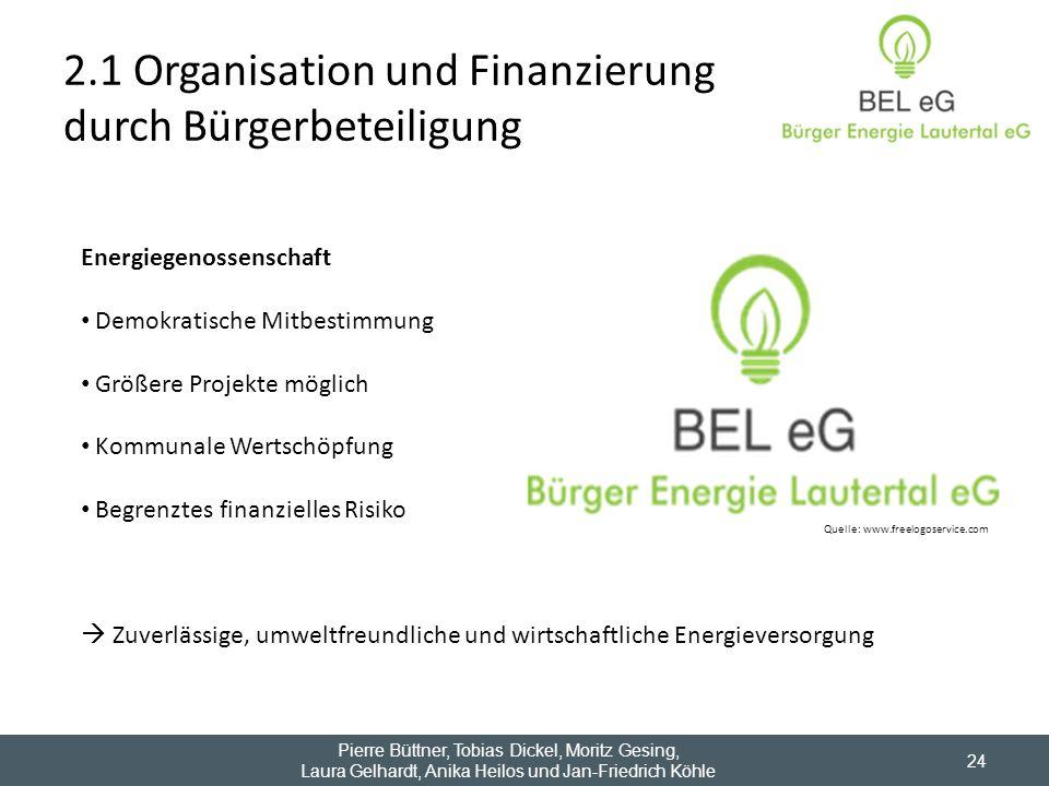 2.1 Organisation und Finanzierung durch Bürgerbeteiligung 24 Quelle: www.freelogoservice.com Energiegenossenschaft Demokratische Mitbestimmung Größere