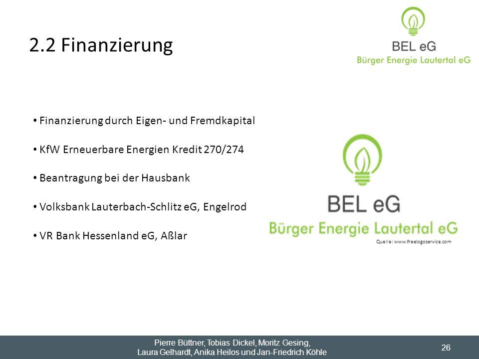 2.2 Finanzierung 26 Quelle: www.freelogoservice.com Finanzierung durch Eigen- und Fremdkapital KfW Erneuerbare Energien Kredit 270/274 Beantragung bei