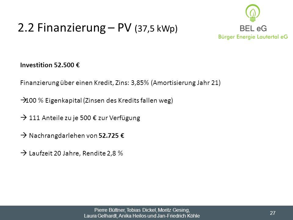2.2 Finanzierung – PV (37,5 kWp) 27 Investition 52.500 Finanzierung über einen Kredit, Zins: 3,85% (Amortisierung Jahr 21) 100 % Eigenkapital (Zinsen