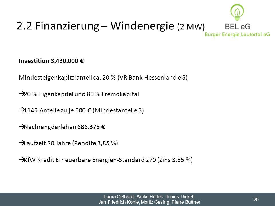 2.2 Finanzierung – Windenergie (2 MW) 29 Investition 3.430.000 Mindesteigenkapitalanteil ca. 20 % (VR Bank Hessenland eG) 20 % Eigenkapital und 80 % F