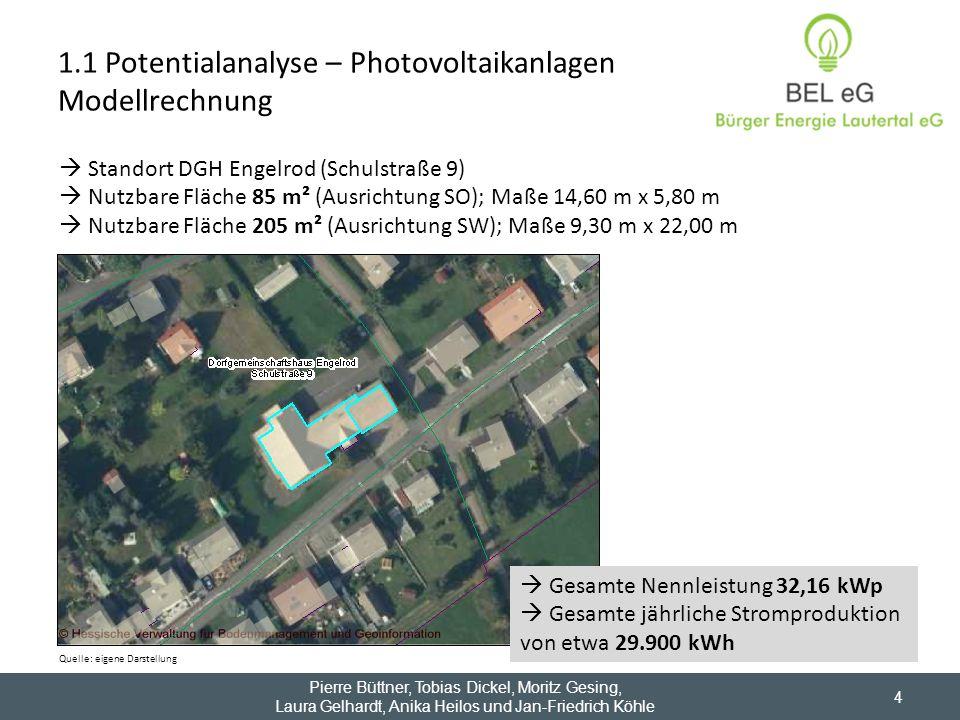 Pierre Büttner, Tobias Dickel, Moritz Gesing, Laura Gelhardt, Anika Heilos und Jan-Friedrich Köhle 4 1.1 Potentialanalyse – Photovoltaikanlagen Modell